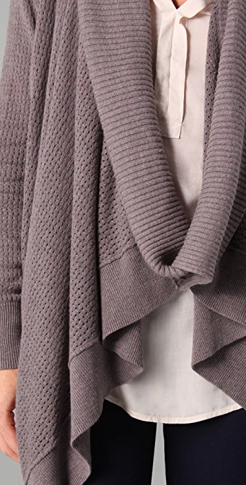 Splendid Pointelle Cowl Wrap Cardigan