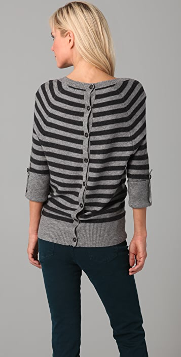 Splendid Reverse Stripe Button Back Sweater