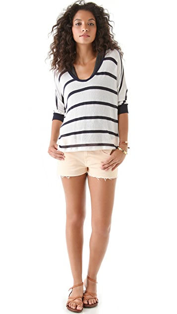 Splendid Harbor Stripe Loose Knit Sweater