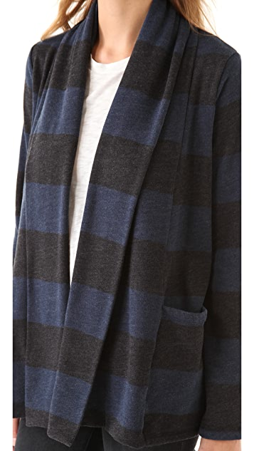 Splendid London Striped Fleece Cardigan