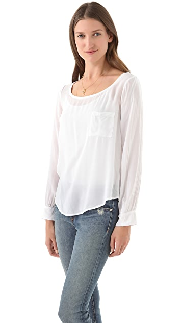 Splendid Boat Neck Top with Pocket