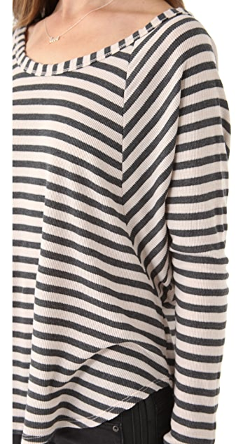 Splendid Charcoal Striped Thermal Tee