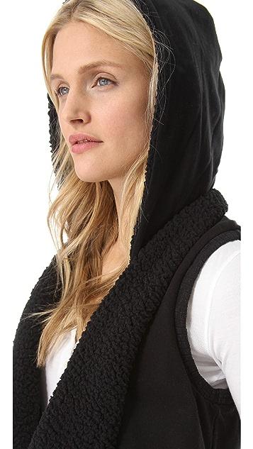 Splendid Sherpa Vest with Hoodie