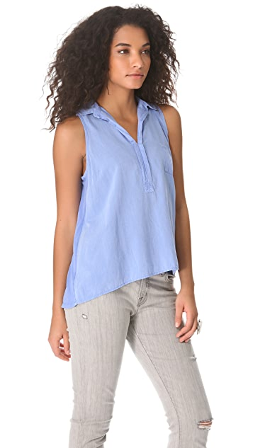 Splendid Sleeveless Collared Henley