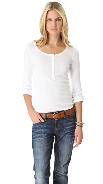 Splendid 1x1 Long Sleeve Henley Tee