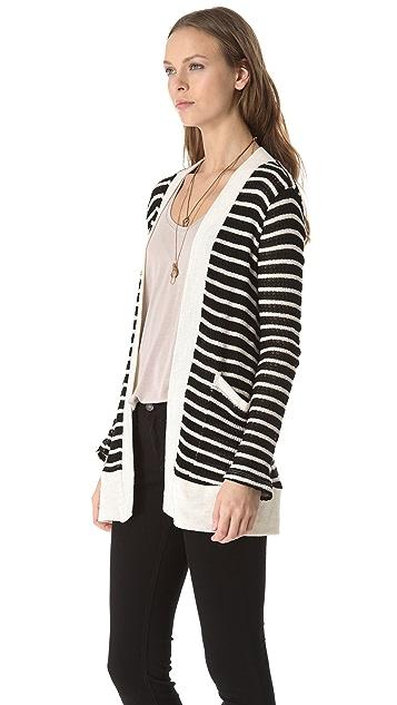 Splendid Panama Stripe Loose Knit Cardigan