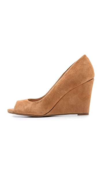 Splendid Derby Open Toe Suede Wedges