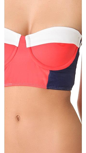 Splendid Sunblock Bustier Bikini Top