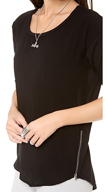 Splendid Boat Neck Shirt with Zipper Detail
