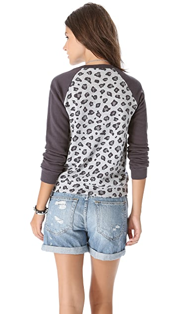 Splendid Leopard Long Sleeve Sweatshirt