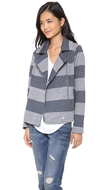 Splendid Striped Fleece Moto Jacket