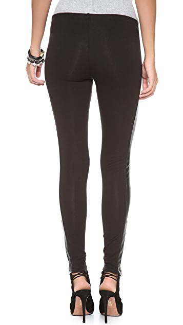 Splendid Leggings with Faux Leather Stripe