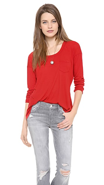 Splendid Drapey Ribbed Long Sleeve Tee