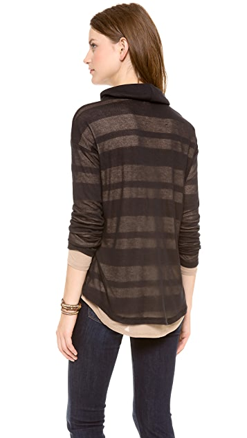 Splendid Quebec Shadow Stripe Turtleneck Tee