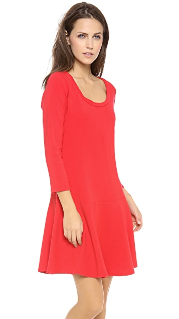 Splendid Long Sleeve U-Neck Flare Dress