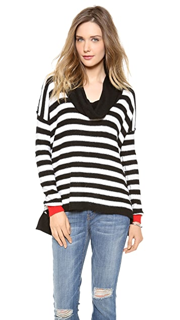 Splendid Pop Stripe Cowl Neck Pullover