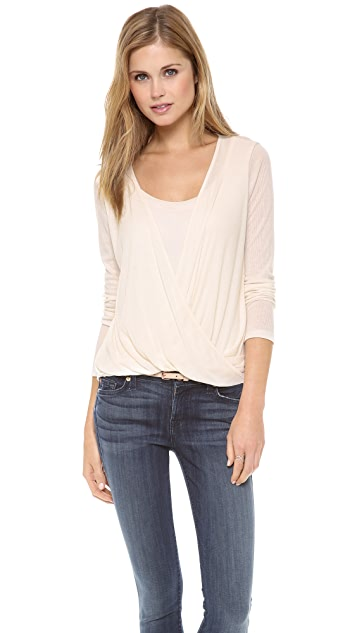 Splendid Drape Rib Crossover Top