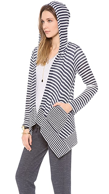 Splendid Deco Stripe Loose Knit Hooded Cardigan