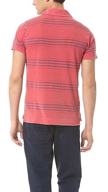 Splendid Denim Stripe Short Sleeve Polo with Contrast Pocket