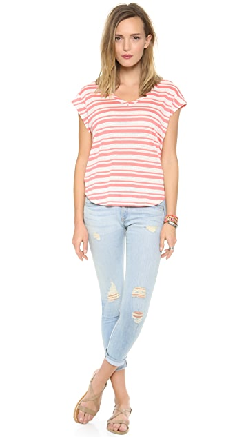 Splendid Marina Eyelet Stripe Top