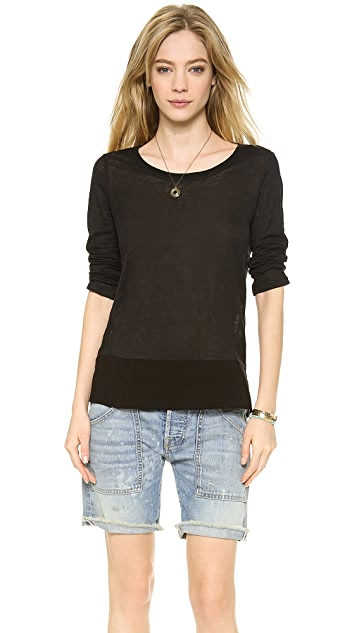 Splendid Linen Jersey Boat Neck Top