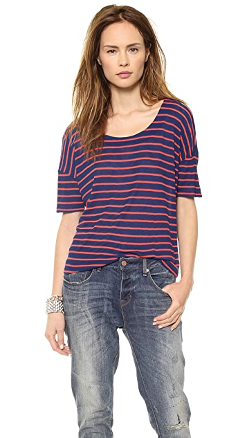 Splendid New Haven Stripe Drapey Tee