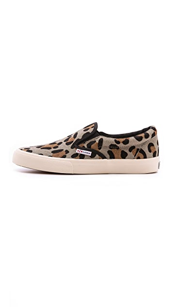 Superga Leopard Haircalf Slip On Sneakers