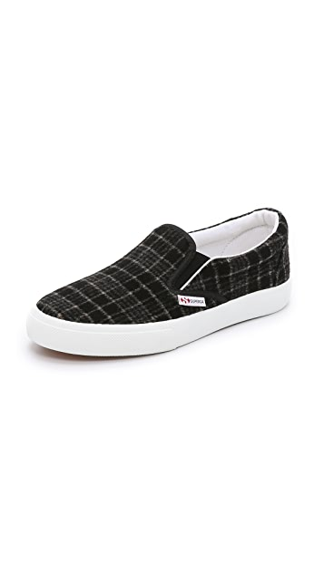 Superga 2311 Wool Plaid Slip On Sneakers