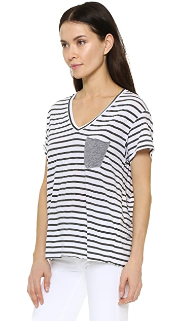 Stateside Stripe V Neck Pocket Tee