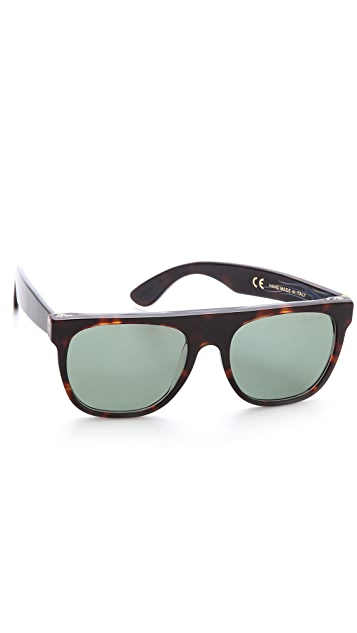 Super Sunglasses Flat Top Turbo Sunglasses