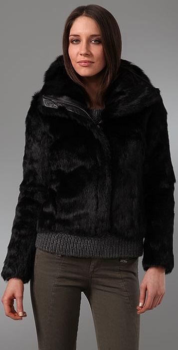 state & lake Long Fur Bomber Jacket