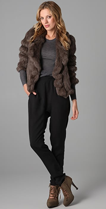 state & lake Fur Ruffle Jacket