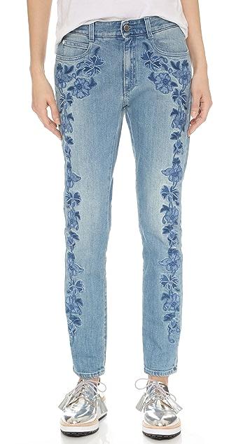 Stella McCartney Skinny Boyfriend Floral Embroidered Jeans | SHOPBOP