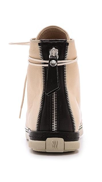 Stuart Weitzman Zipit Captoe High Top Sneakers