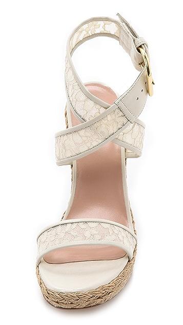 Stuart Weitzman Guipure Espadrille Sandals