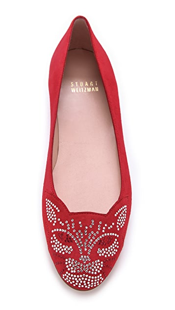 Stuart Weitzman Kittycat Jeweled Flats