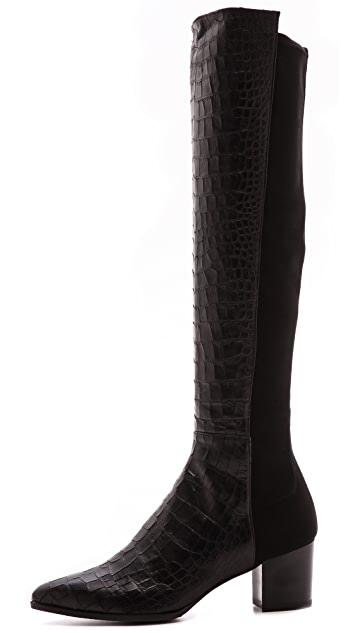 Stuart Weitzman Demisvelt Pointed Toe Stretch Boots