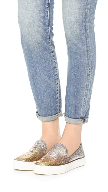 fake for sale Stuart Weitzman Denim Glitter Slip-On Sneakers discount sast G4HVsx