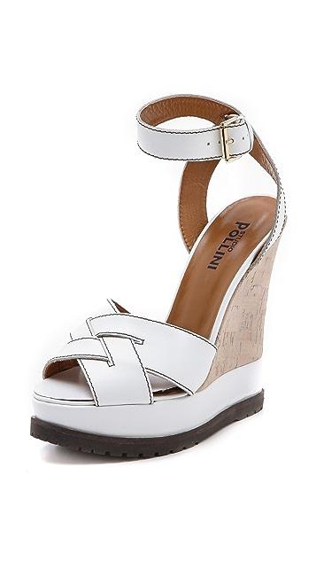 Studio Pollini Wedge Sandals with Cork Inset