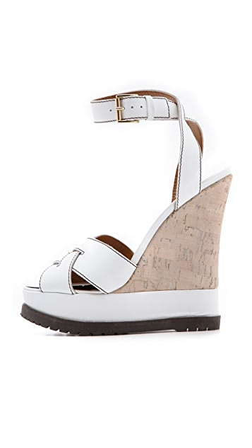 Studio Pollini Wedge Sandals with Cork Inset