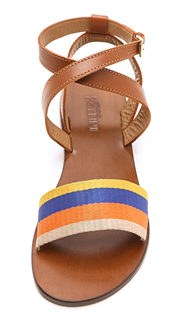 Studio Pollini Striped Flat Sandals