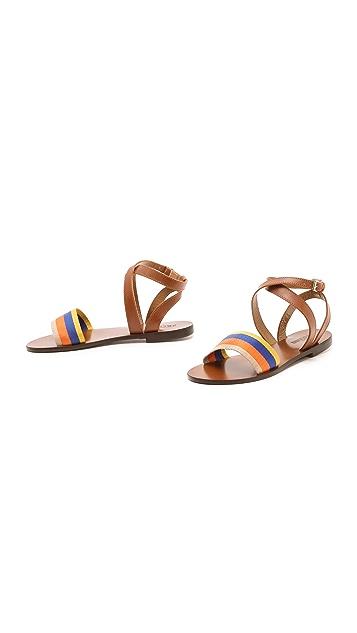 Studio Pollini Striped Flat Sandals