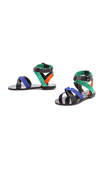 Studio Pollini Multicolor Flat Sandals