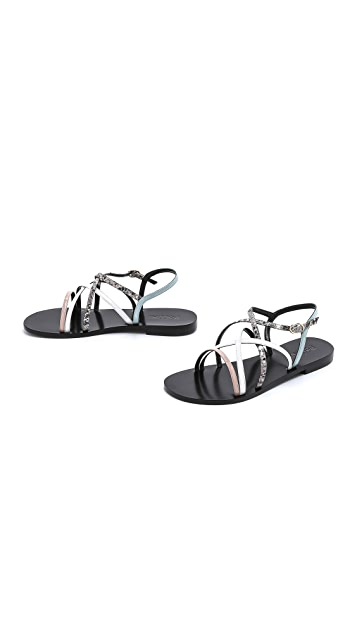 Studio Pollini Strappy Flat Sandals
