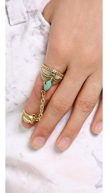 SunaharA Malibu Palm Chain Ring