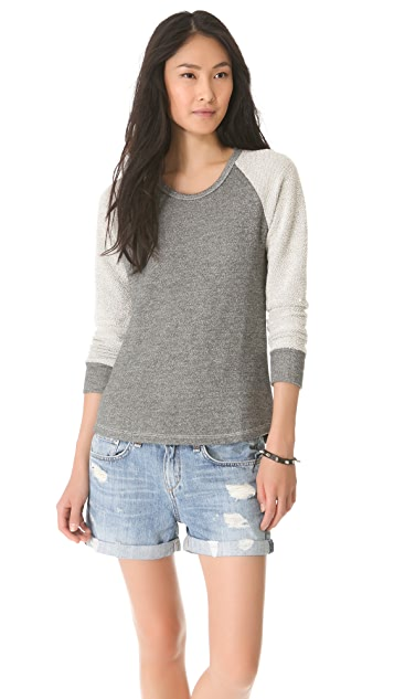 SUNDRY Reverse Panel Raglan Top