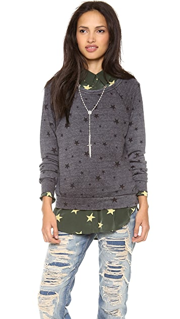 SUNDRY Long Sleeve Star Sweatshirt