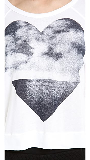 SUNDRY Love the Ocean Cropped Pullover