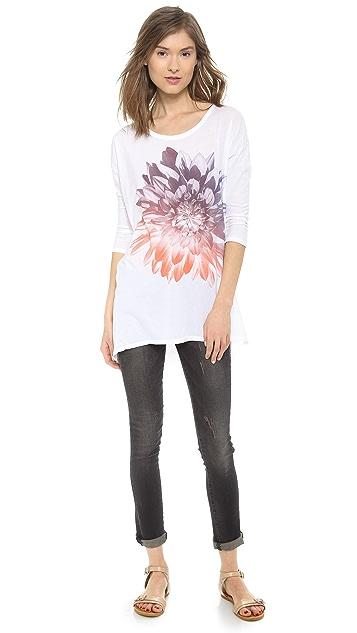 SUNDRY Gradient Flower Long Sleeve Top