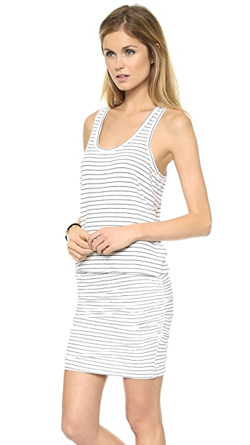 SUNDRY Summer Stripe Ruched Tank Dress